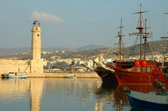crete greece gammal port rethymnon Royaltyfri Bild