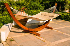 Crete, Greece - hammock at luxury exotic resort Royalty Free Stock Images