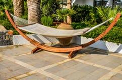 Crete, Greece - hammock at luxury exotic resort Stock Photo