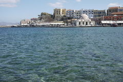 Crete in Greece holiday sea harbour view with busy holiday scene Royalty Free Stock Images
