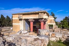 Crete, Greece - January, 2016. The ruins of the Minoan palaces is the archaeological site Knossos. The ruins of the Minoan palaces is the archaeological site stock photos
