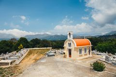 Small chapel and cemetery on the Lasithi plateau Stock Photos