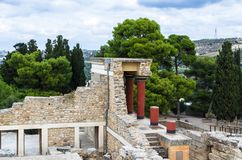 CRETE, GREECE - November, 2017: ancient ruines of famouse Knossos palace at Crete. Crete, Greece - November, 2017: scenic ruins of the Minoan Palace of Knossos Royalty Free Stock Photography