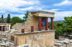 CRETE, GREECE - November, 2017: ancient ruines of famouse Knossos palace at Crete. Crete, Greece - November, 2017: scenic ruins of the Minoan Palace of Knossos Royalty Free Stock Images