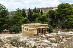 CRETE, GREECE - November 2, 2017: ancient ruines of famouse Knossos palace at Crete. Crete, Greece - November 2, 2017: scenic ruins of the Minoan Palace of Stock Images