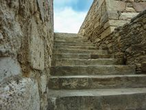 CRETE, GREECE - November, 2017: ancient ruines of famouse Knossos palace at Crete. CRETE, GREECE - November, 2017: scenic ruins of the Minoan Palace of Knossos Royalty Free Stock Photos