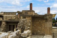 CRETE, GREECE - November, 2017: ancient ruines of famouse Knossos palace at Crete. CRETE, GREECE - November, 2017: scenic ruins of the Minoan Palace of Knossos Stock Photo