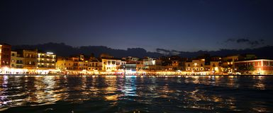 Free Crete, Greece October 01 2018 Panoramic View At Evening Of The City Center From The Inland Sea At The Port Stock Photos - 154879883