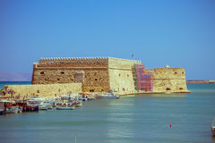 Crete Heraklion August 25: Venetian fortress Koules Stock Photo