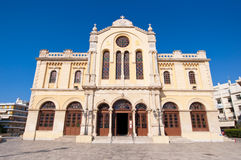 CRETE,HERAKLION-JULY 25: The Agios Minas Cathedral on July 25 in Heraklion city on the island of Crete, Greece. Royalty Free Stock Images