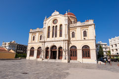 CRETE,HERAKLION-JULY 25: The Agios Minas Cathedral on July 25 in Heraklion on the Crete island, Greece.  Stock Images