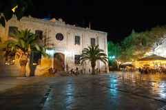 CRETE,HERAKLION-JULY 25:The basilica of St. Titus at night on July 25,2014 in Heraklion on the Crete island, Greece. Stock Images