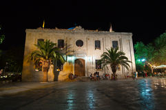 CRETE,HERAKLION-JULY 25: Church of Saint Titus at night on July 25,2014 in Heraklion on the Crete island, Greece. Royalty Free Stock Photo