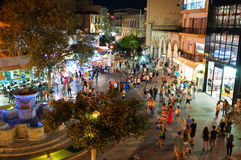 CRETE,HERAKLION-JULY 24: Eleftheriou Venizelou Square or Lions Square at night on July 24,2014 in Heraklion on the Crete, Greece. royalty free stock photography