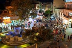 CRETE,HERAKLION-JULY 24: The fountain on Lions Square at night on July 24,2014 in Heraklion on the Crete island, Greece. Stock Photos