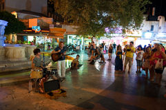 CRETE,HERAKLION-JULY 24: Musicians perform on Lions Square on July 24,2014 in Heraklion on the Crete island, Greece. Stock Photography