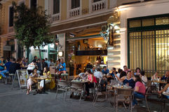 CRETE,HERAKLION-JULY 24: Nightlife in Heraklion city next to Lions Square on July 24,2014 on the island of Cete in Greece. Stock Image