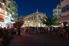 CRETE,HERAKLION-JULY 24: Nightlife on Lions Square on July 24,2014 on the Cete island, Greece.  Stock Photo