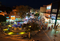 CRETE,HERAKLION-JULY 24: Nightlife and Lions Square on July 24,2014 on the Crete island, Greece. Stock Photo