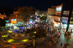 CRETE,HERAKLION-JULY 24: Nightlife on Lions Square on July 24,2014 in Heraklion city on the Crete island, Greece. Royalty Free Stock Photography