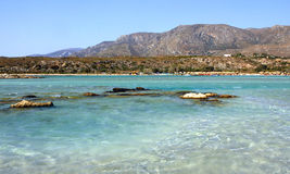 Crete island Greece. View of the blue clear Aegean sea the nature and the land of the Crete island in Greece Royalty Free Stock Images