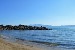 Crete island. One of the most beautiful island s from the world , Greece  water is clear like crystal, gold sand beach Royalty Free Stock Photography