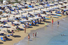 Crete island, Palm beach Vai, Greece - August 24, 2015. People. People sunbathing and having a rest on the beach Stock Photos