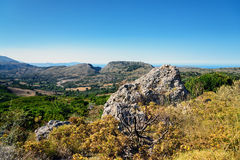 Crete island in summer, view on valley near Plakias town. Stock Images