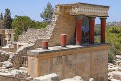 crete knossos pałac Szczegół antyczne ruiny sławny Minoan pałac Knosos crete wyspa Greece Fotografia Royalty Free