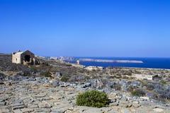 crete Mar Fortaleza en la isla de Gramvous fotografía de archivo