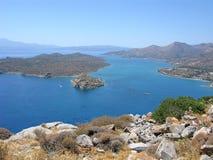Crete, Mirabello bay with Spinalonga fortress. Crete. Panorama of Mirabello bay with Spinalonga fortress and Elounda Royalty Free Stock Photo