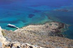 crete Morze Forteca na wyspie Gramvous Zdjęcia Royalty Free
