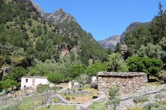 Crete mountains. Crete island in Greece. Abandoned village in Samaria Gorge in Lefka Ori mountains Royalty Free Stock Photos