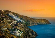 Crete nadmorski wioska przy zmierzchem Obraz Royalty Free