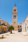 CRETE,RETHYMNO-JULY 23: The belltower of the Megalos Antonios church on July 23,2014 in Rethymnon city on the Crete island, Greece Stock Image