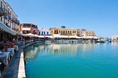 CRETE,RETHYMNO-JULY 23: The old venetian harbour with the various bars and restaurants in Rethymno city on July 23,2014 on the isl Royalty Free Stock Photo