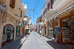 CRETE,RETHYMNO-JULY 23:Shopping Arkadiou busy street on July 23,2014 in Rethymnon city on the island of Crete, Greece. Arkadiou St Royalty Free Stock Photo