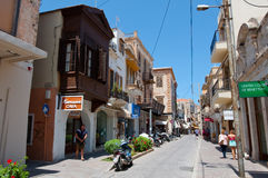 CRETE,RETHYMNO-JULY 23:Shopping Arkadiou street on July 23,2014 in Rethymnon city on the island of Crete. Stock Photo