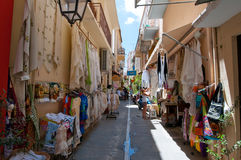 CRETE,RETHYMNO-JULY 23:Shopping street on July 23,2014 in Rethymnon city on the island of Crete, Greece. Stock Photography