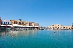 CRETE, RETHYMNO-JULY 23: Widok stary schronienie na Lipu 23,2014 w Rethymno, Crete wyspa, Grecja Zdjęcie Stock