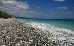 Crete rock beach. Beautiful rock beach in Crete, picturesque landscape Royalty Free Stock Images
