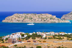 Crete sceneria z Spinalonga wyspą Zdjęcia Stock