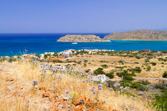 Crete scenery with Mirabello Bay. And Spinalonga island, Greece Stock Photography