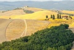 Crete senesi, characteristic krajobraz w Val d'orcia Zdjęcia Stock