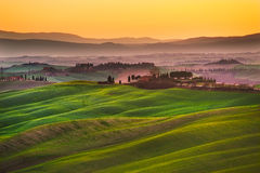Crete senesi, rolling hills on sunset. Rural landscape near Sien Royalty Free Stock Photography