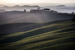 Crete senesi, rolling hills sunset. Tuscany, Italy Royalty Free Stock Photos