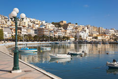Crete,Sitia,View of boats at harbour Stock Photo