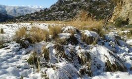Crete snow. Mountain scene with snow. Crete. January 2017. Greece Stock Photos