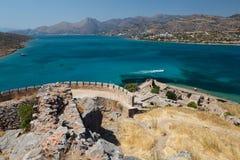 Crete Spinalonga fästning Grekland Arkivbilder