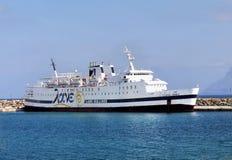 Crete Travel, Attraction, Cruises. Ship in Kissamos port. Crete island, Greece Stock Image